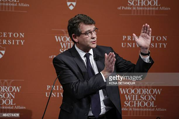 Arnaud Montebourg former French Minister of the Economy speaks at Princeton University on February 23 2015 in Princeton New Jersey Princeton...