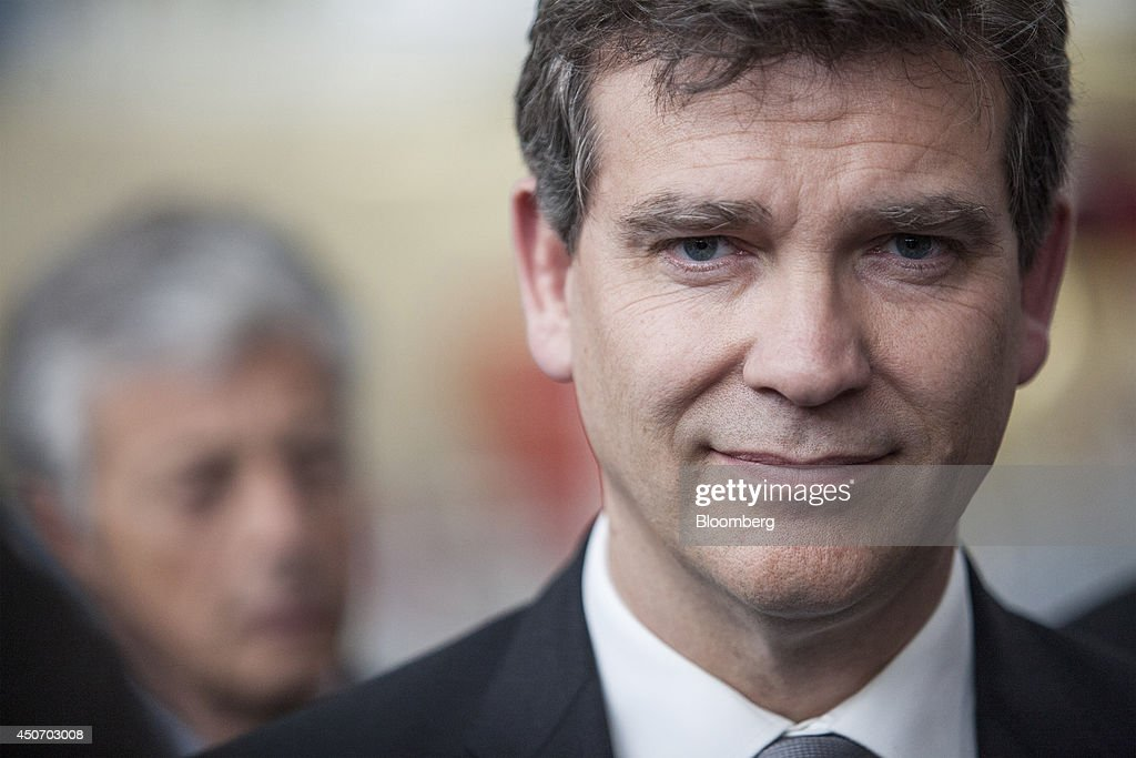 <a gi-track='captionPersonalityLinkClicked' href=/galleries/search?phrase=Arnaud+Montebourg&family=editorial&specificpeople=588268 ng-click='$event.stopPropagation()'>Arnaud Montebourg</a>, France's economy minister, reacts at the Airbus Group NV during a tour of the Airbus factory in Toulouse, France, on Monday, June 16, 2014. The current European Union (EU) commission is an obstacle to the creation of industry champions, Montebourg stated during a visit to Airbus sites in Toulouse, southwest France, today.Photographer: Balint Porneczi/Bloomberg via Getty Images
