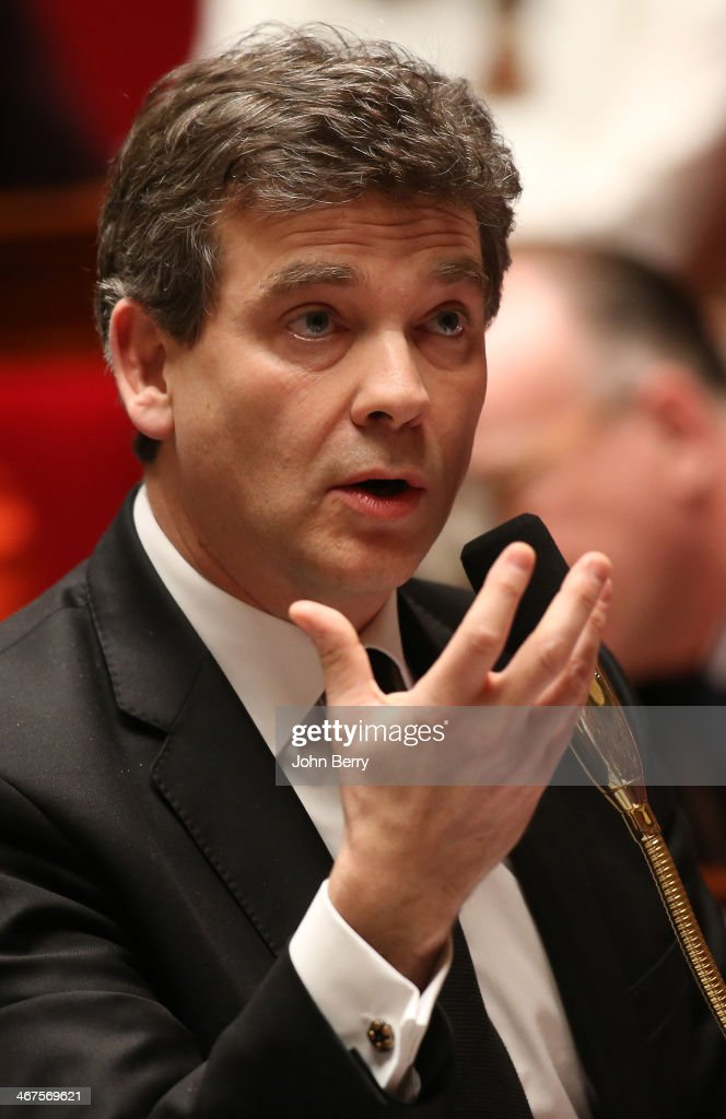 <a gi-track='captionPersonalityLinkClicked' href=/galleries/search?phrase=Arnaud+Montebourg&family=editorial&specificpeople=588268 ng-click='$event.stopPropagation()'>Arnaud Montebourg</a>, french Minister for Industrial Renewal participates at the Questions to the Government at the french National Assembly on February 4, 2014 in Paris, France.