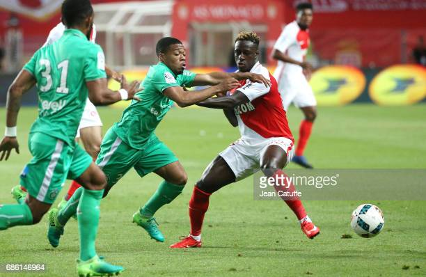Arnaud Nordin of SaintEtienne and Benjamin Mendy of Monaco during the French Ligue 1 match between AS Monaco and AS SaintEtienne at Stade Louis II on...
