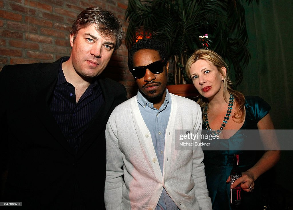 Arnaud Brachet, musician Andre 3000 and Aslaug Magnusdottir attend the Belvedere IX Launch Party at The Bowery Hotel on February 12, 2009 in New York City.