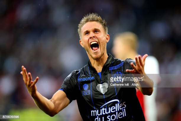 Arnaud Souquet of OGC Nice celebrates after he scores a goal to make it 01 during the UEFA Champions League Qualifying Third Round match between Ajax...