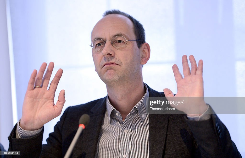 Arnd Festerling, chief editor of the Frankfurter Rundschau, reacts during a press conference on February 28, 2013 in Frankfurt am Main, Germany. The Frankfurter Rundschau has been bought by the Frankfurter Allgemeine Zeitung after the Federal Cartel Office in Bonn allowed the acquisition on Wednesday afternoon.