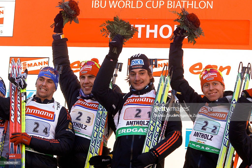 Arnd Peiffer Michael Greis Bohm Daniel Christoph Stephan Germany of Germany takes 1st place during the IBU World Cup Biathlon Men's 4x75 km Relay on...