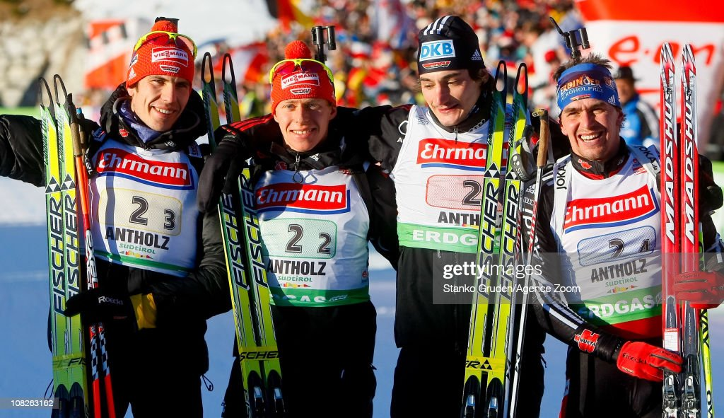 <a gi-track='captionPersonalityLinkClicked' href=/galleries/search?phrase=Arnd+Peiffer&family=editorial&specificpeople=5658801 ng-click='$event.stopPropagation()'>Arnd Peiffer</a>, <a gi-track='captionPersonalityLinkClicked' href=/galleries/search?phrase=Michael+Greis&family=editorial&specificpeople=702831 ng-click='$event.stopPropagation()'>Michael Greis</a>, Bohm Daniel, Christoph Stephan of Germany takes 1st place during the IBU World Cup Biathlon Men's 4x7.5 km Relay on January 23, 2011 in Antholz-Anterselva, Italy.