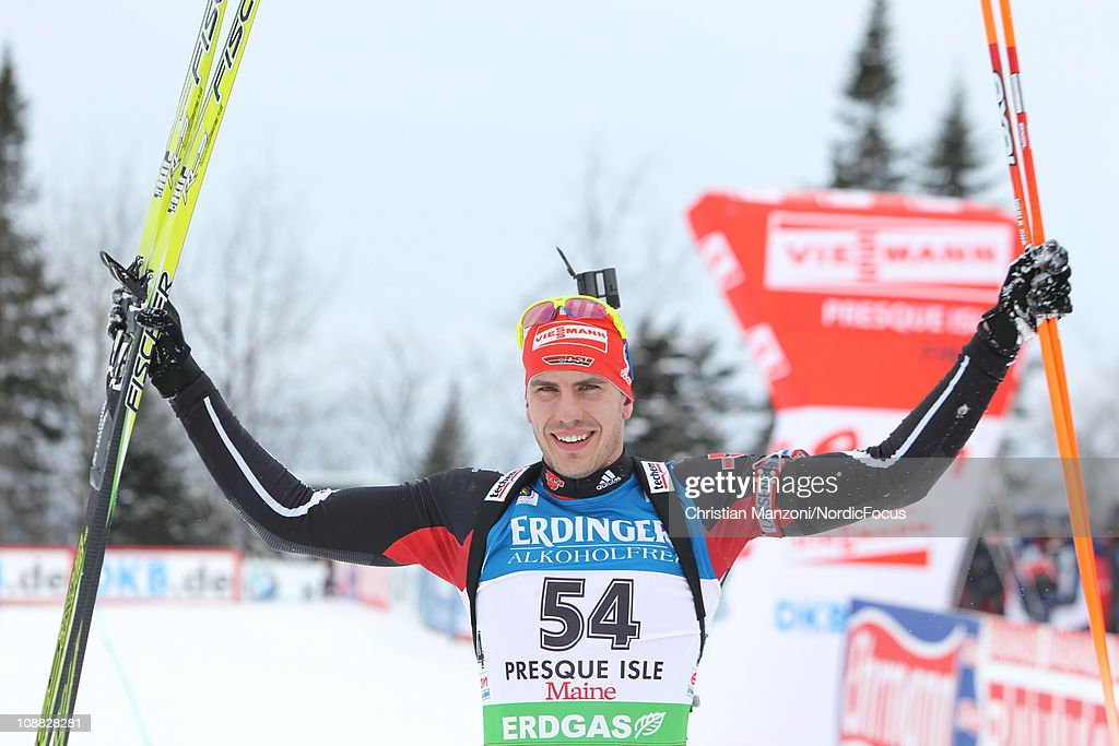 Arnd Peiffer of Germany celebrates after the men's sprint during the EON IBU Biathlon World Cup on February 4 2011 in Presque Isle United States