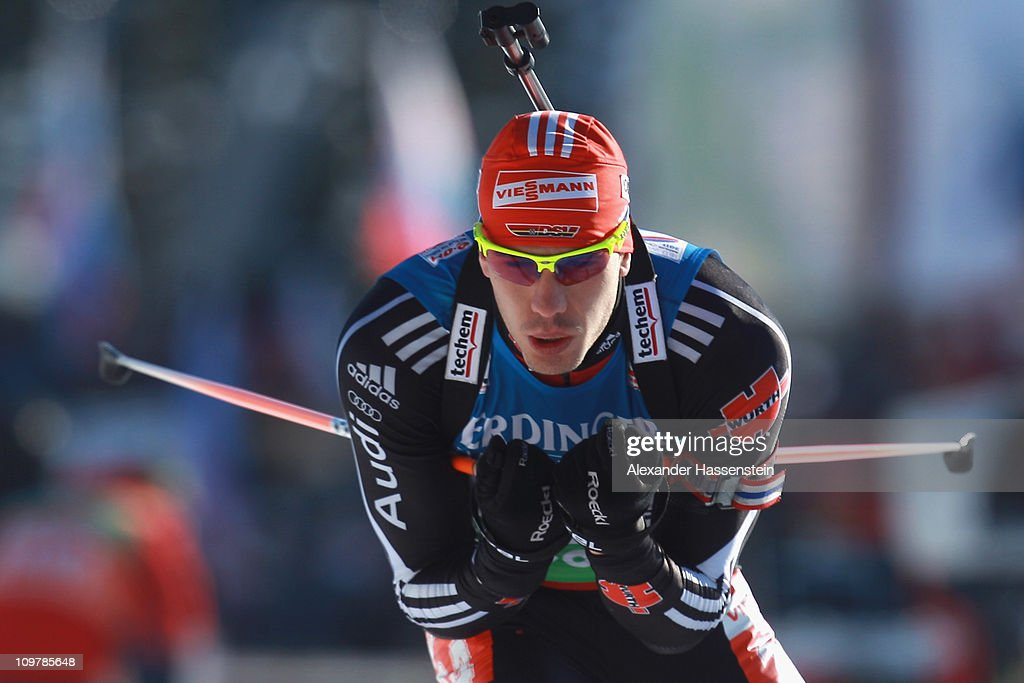 Arnd Peiffer of Germany competes in the men's 10km sprint during the IBU Biathlon World Championships at AV Philipenko winter sports centre on March...