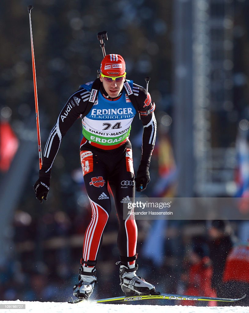 <a gi-track='captionPersonalityLinkClicked' href=/galleries/search?phrase=Arnd+Peiffer&family=editorial&specificpeople=5658801 ng-click='$event.stopPropagation()'>Arnd Peiffer</a> of Germany competes in the men's 10km sprint during the IBU Biathlon World Championships at A.V. Philipenko winter sports centre on March 5, 2011 in Khanty-Mansiysk, Russia.