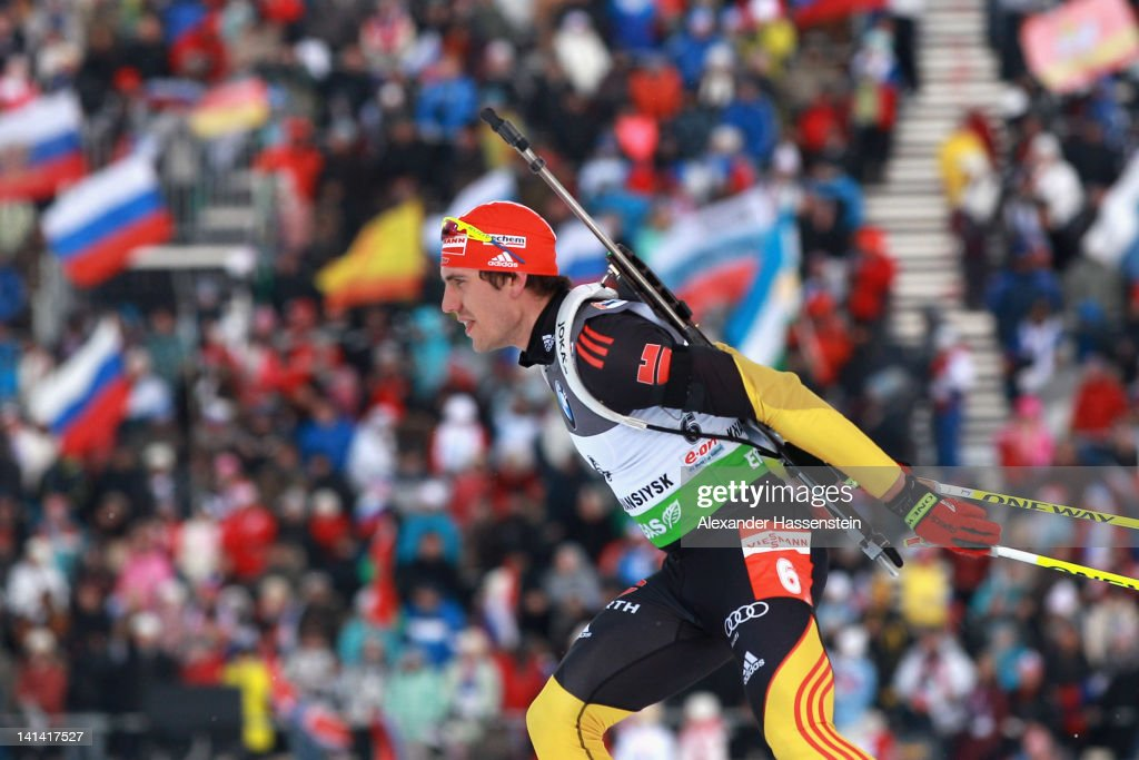 Arnd Peiffer of Germany competes in the Men's 10km Sprint event of the IBU Biathlon World Cup at A.V. Philipenko winter sports centre on March 16, 2012 in Khanty-Mansiysk, Russia.
