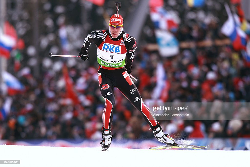 Arnd Peiffer of Germany competes in the men's 125km pursuit during the IBU Biathlon World Championships at AV Philipenko winter sports centre on...
