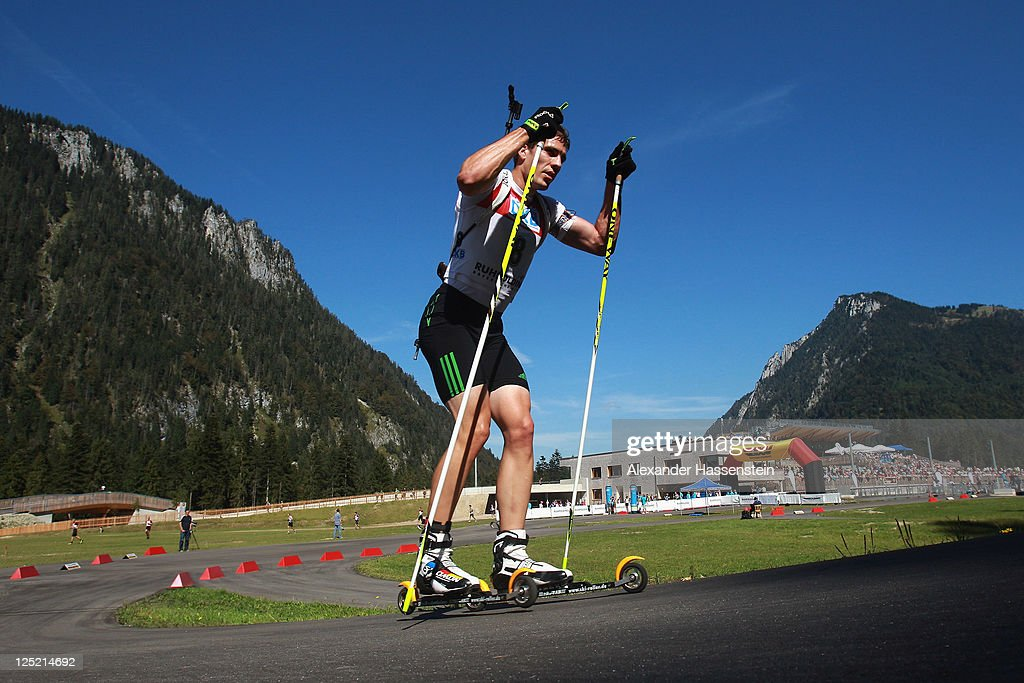 Arnd Peiffer of Germany competes in the men's 20 km individual event during the German Championships at the Chiemgau Arena on September 16 2011 in...