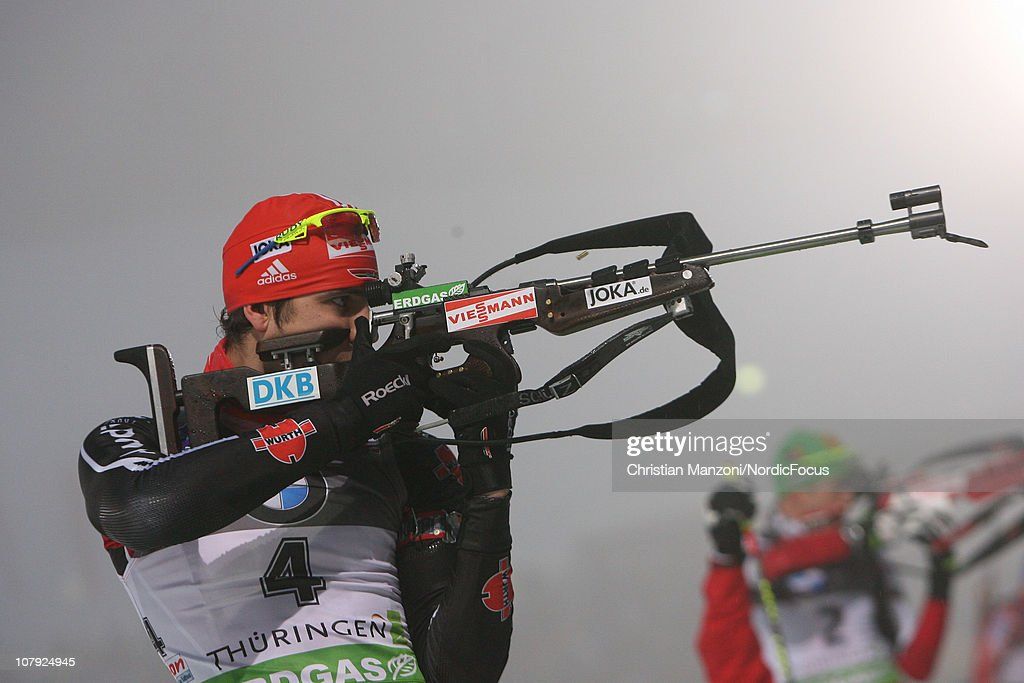<a gi-track='captionPersonalityLinkClicked' href=/galleries/search?phrase=Arnd+Peiffer&family=editorial&specificpeople=5658801 ng-click='$event.stopPropagation()'>Arnd Peiffer</a> of Germany competes in the men's sprint during the e.on IBU Biathlon World Cup on January 07, 2011 in Oberhof, Germany.