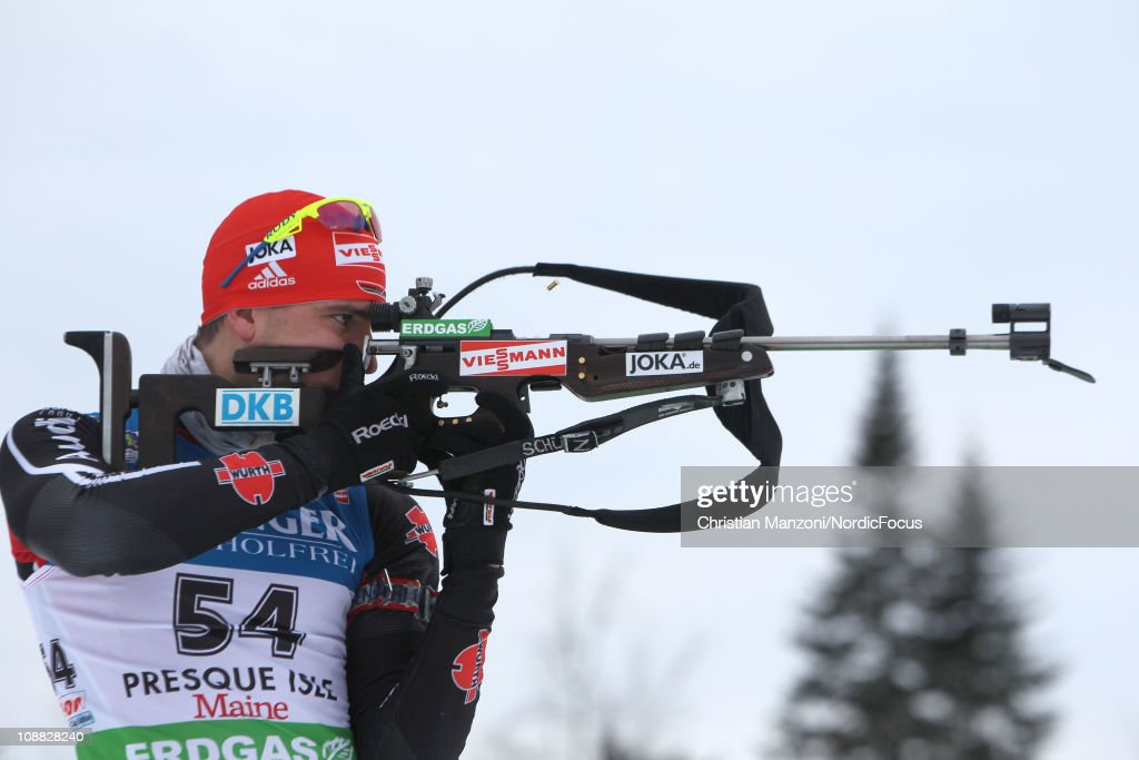 Arnd Peiffer of Germany competes in the men's sprint during the EON IBU Biathlon World Cup on February 4 2011 in Presque Isle United States