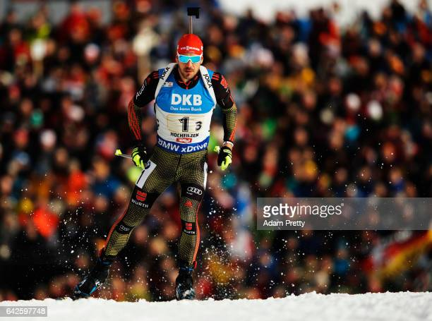 Arnd Peiffer of Germany in action during the Men's 4x 75km relay competition of the IBU World Championships Biathlon 2017 at the Biathlon Stadium...