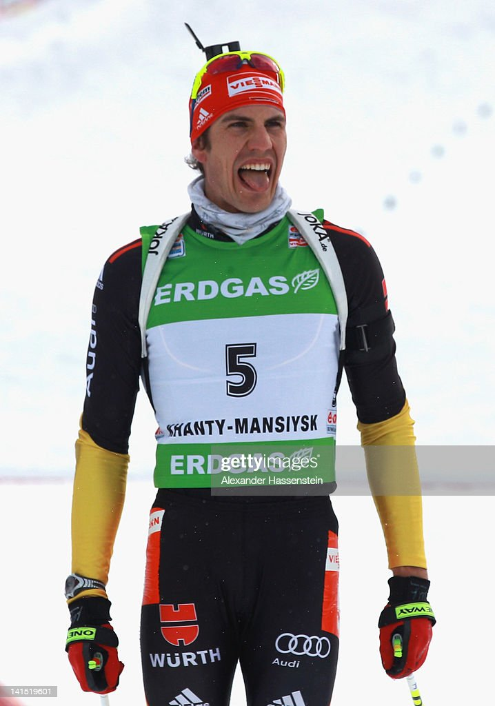 Arnd Peiffer of Germany reacts after the Men's 15km Mass Start event of the IBU Biathlon World Cup at A.V. Philipenko winter sports centre on March 18, 2012 in Khanty-Mansiysk, Russia.