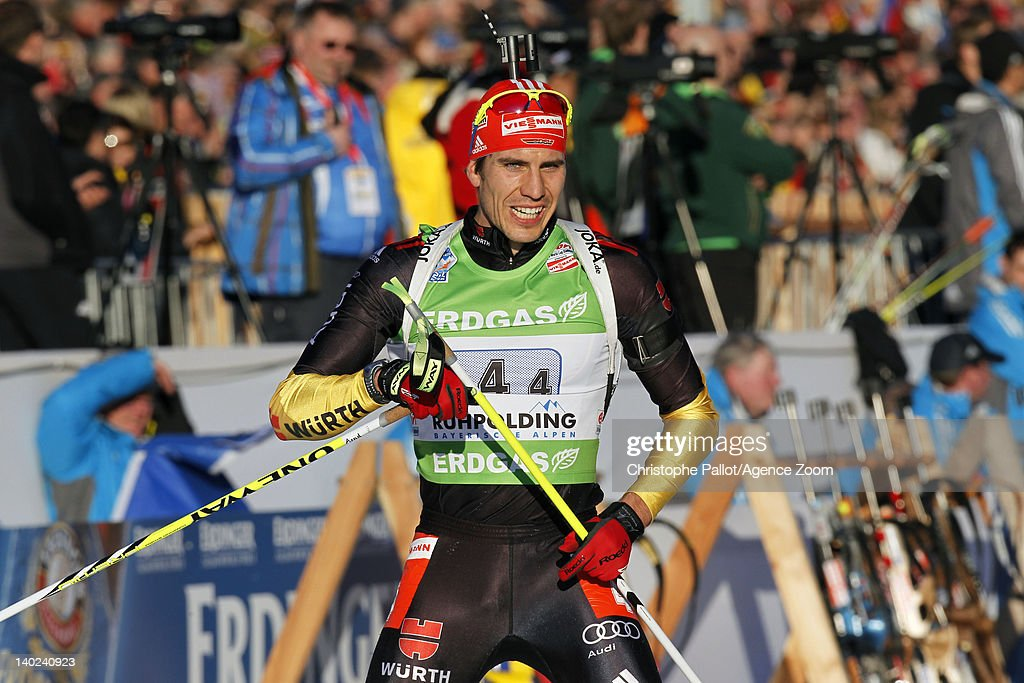 <a gi-track='captionPersonalityLinkClicked' href=/galleries/search?phrase=Arnd+Peiffer&family=editorial&specificpeople=5658801 ng-click='$event.stopPropagation()'>Arnd Peiffer</a> of Germany takes 3rd place during the IBU Biathlon World Championships Mixed Relay on March 01, 2012 in Ruhpolding, Germany.