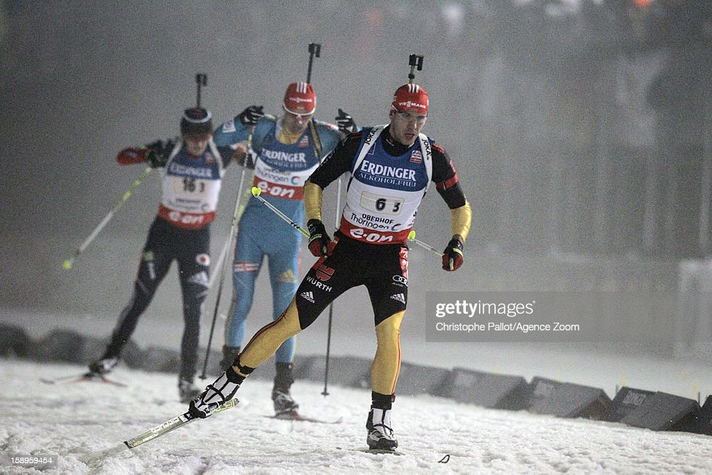 Arnd Peiffer of Germany takes 3rd place during the IBU Biathlon World Cup Men's Relay on January 04, 2013 in Oberhof, Germany.