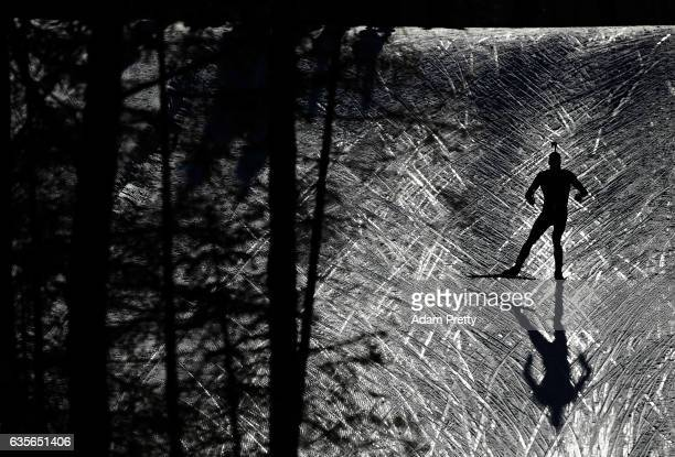 Arnd Pfeiffer of Germany in action during the Men's 20km Individual competition of the IBU World Championships Biathlon 2017 at the Biathlon Stadium...