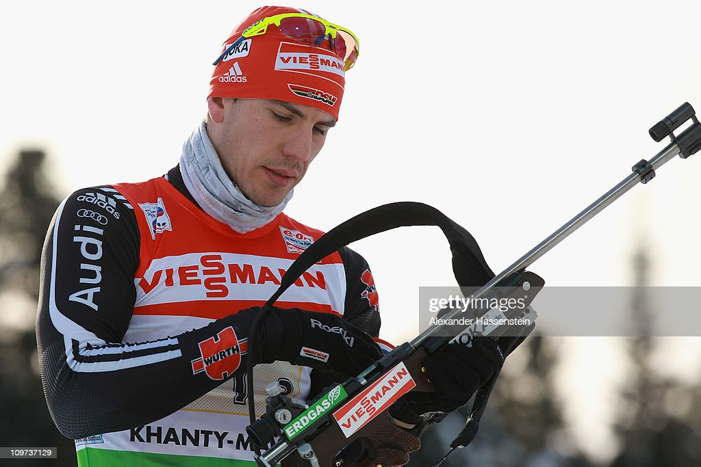 Arnd Pfeiffer of Germany practice at the zeoring prior to mixed relay during the IBU Biathlon World Championships at AV Philipenko winter sports...
