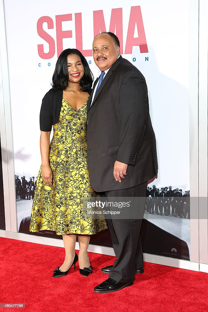 Arndrea Waters (L) and Martin Luther King III attend 'Selma' New York Premiere - Inside Arrivals at Ziegfeld Theater on December 14, 2014 in New York City.