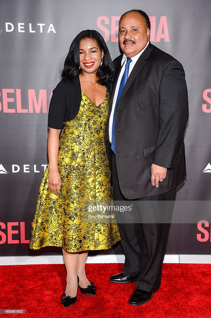 Arndrea Waters King and Martin Luther King III enter the 'Selma' New York Premiere at the Ziegfeld Theater on December 14 2014 in New York City