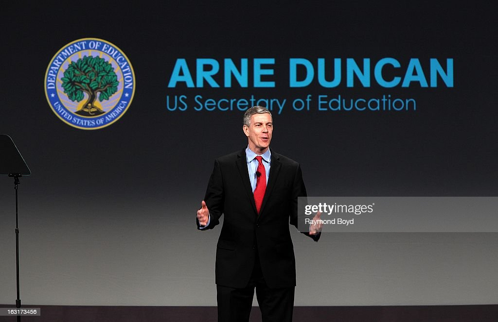<a gi-track='captionPersonalityLinkClicked' href=/galleries/search?phrase=Arne+Duncan&family=editorial&specificpeople=3049193 ng-click='$event.stopPropagation()'>Arne Duncan</a>, U.S. Secretary Of Education, speaks during opening ceremonies for the Third Anniversary Of Let's Move! With First Lady Michelle Obama at McCormick Place in Chicago, Illinois on FEBRUARY 28, 2013.