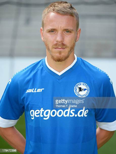Arne Feick poses during the Second Bundesliga team presentation of Arminia Bielefeld at Schueco Arena on September 4 2013 in Bielefeld Germany