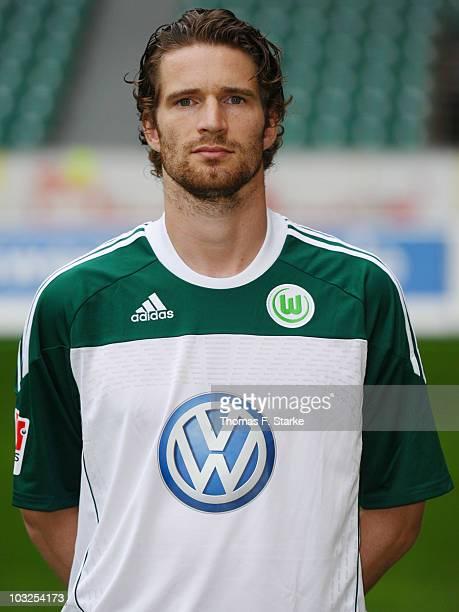 Arne Friedrich poses during the VfL Wolfsburg Team Presentation at the Volkswagen Arena on August 5 2010 in Wolfsburg Germany