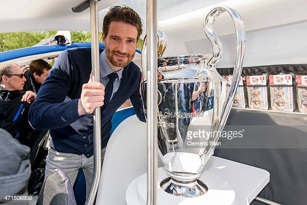 Arne Friedrich poses with the cup during the UEFA Champions League Trophy Tour Berlin on April 29 2015 in Berlin Germany