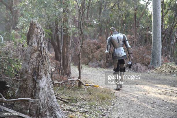 Arne Koets of the Netherlands walks to his mount as he prepares to compete in the World Jousting Championships on September 24 2017 in Sydney...