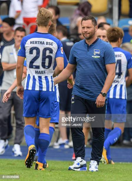 Arne Maier and Coach Pal Dardai of Hertha BSC after the test match between CarlZeiss Jena and Hertha BSC on july 16 2017 in Jena Germany