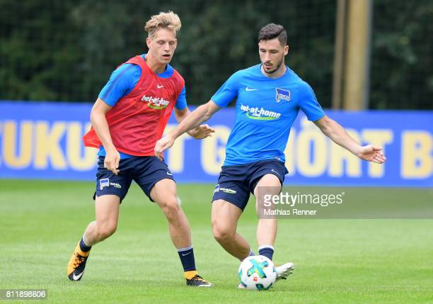 Arne Maier and Mathew Leckie of Hertha BSC during the training camp of Hertha BSC on july 10 2017 in Bad Saarow Germany