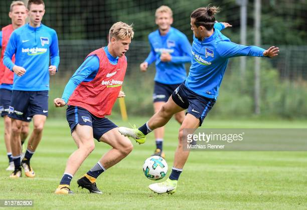 Arne Maier and Valentin Stocker during the sixth day of the training camp of Hertha BSC on july 13 2017 in Bad Saarow Germany