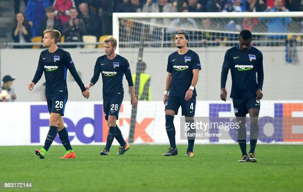 Arne Maier Fabian Lustenberger Karim Rekik and Salomon Kalou of Hertha BSC during the Europa League group J game between Zorya Luhansk against Hertha...