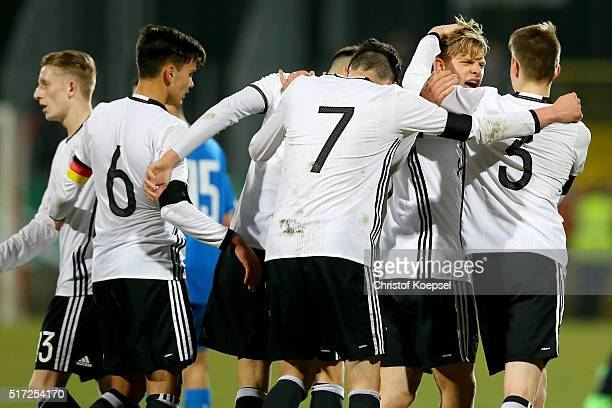 Arne Maier of Germany celebrates his second and the fifth goal with team mate GianLuca Itter during the U17 Euro Qualification match between Germany...