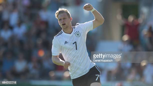 Arne Maier of Germany celebrates his team's first goal during the U18 International Friendly match between Germany and Italy on May 17 2017 in...