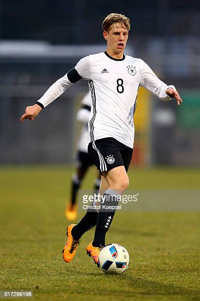 Arne Maier of Germany runs with the ball during the U17 Euro Qualification match between Germany and Slovakia at Paul Janes Stadium on March 24 2016...