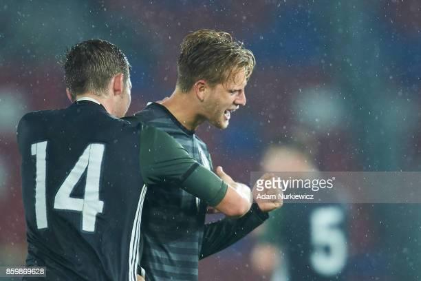 Arne Maier of U19 Germany celebrates with team mates after scoring during soccer match U19 Poland v U19 Germany UEFA Under19 Euro Qualifier on...
