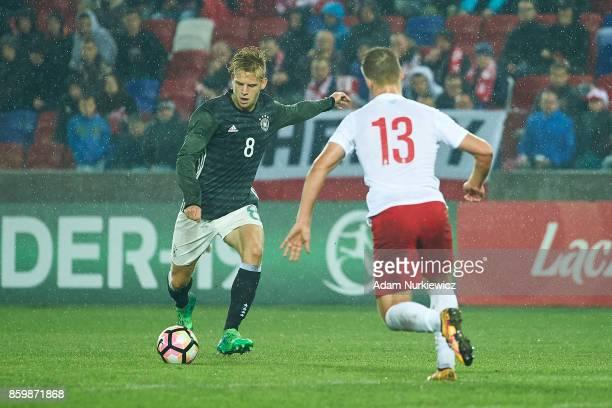 Arne Maier of U19 Germany scores second goal for Germany during soccer match U19 Poland v U19 Germany UEFA Under19 Euro Qualifier on October 10 2017...