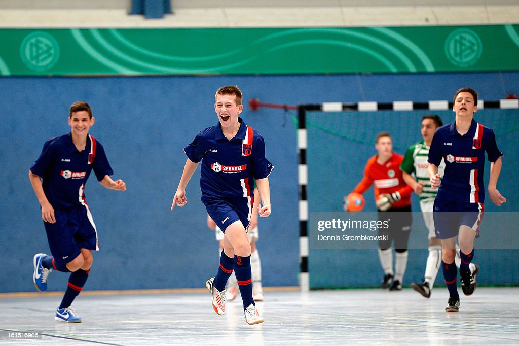 Arne Schuelke of Hollenbach celebrates after scoring a goal in the DFB C Juniors Futsal Cup semifinal match between SpVgg Greuther Fuerth and FSV...