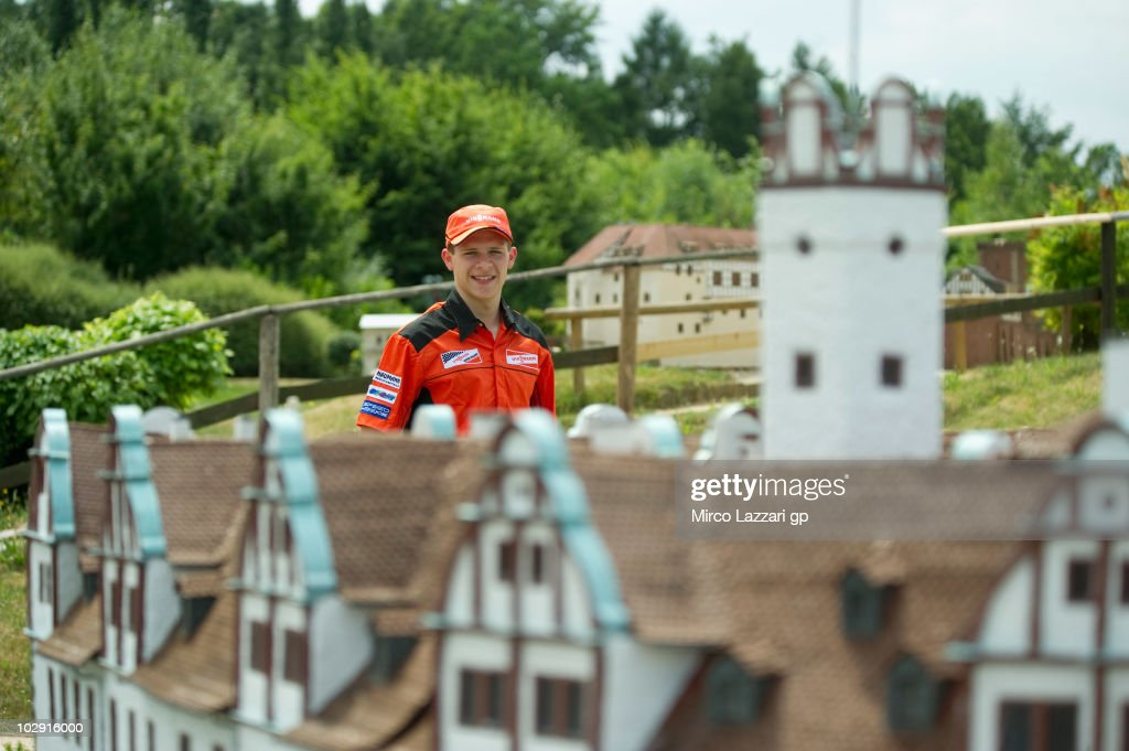 Arne Tode of Germany and Racing Team Germany poses during the preevent 'Visit Miniwelt' of Grand Prix of Germany at Sachsenring Circuit on July 15...