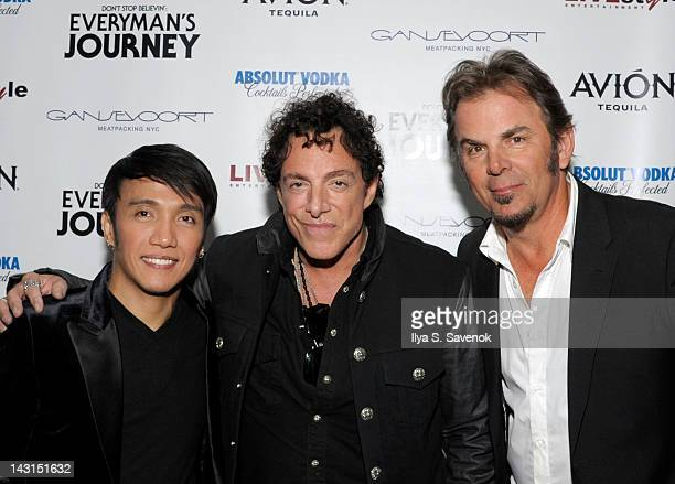 Arnel Pineda Neal Schon and Jonathan Cain of the band Journey attend the after party for the premiere of 'Don't Stop Believin' Everyman's Journey'...