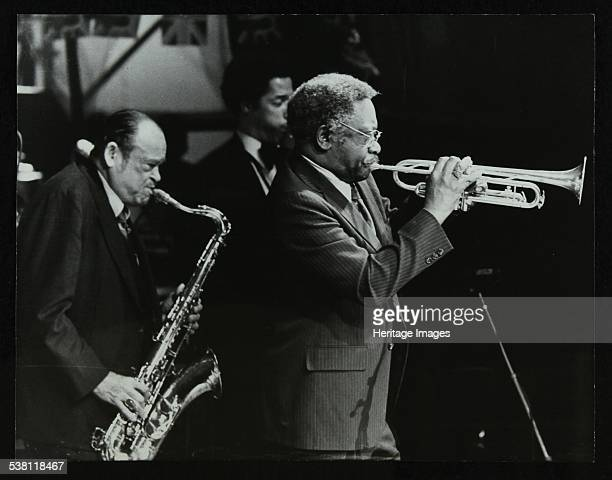 Arnett Cobb and Wallace Davenport playing at the Capital Radio Jazz Festival Knebworth Hertfordshire 1981 Tenor saxophonist Ricky Ford is in the...