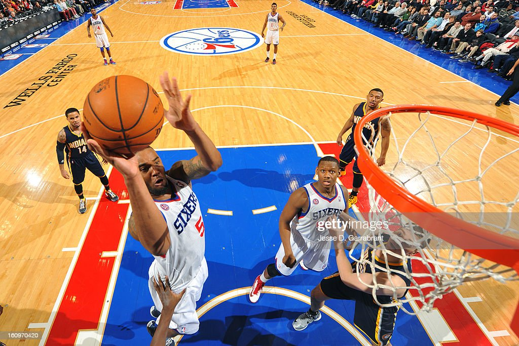 Arnett Moultrie #5 of the Philadelphia 76ers drives to the basket against the Indiana Pacers at the Wells Fargo Center on February 6, 2013 in Philadelphia, Pennsylvania.