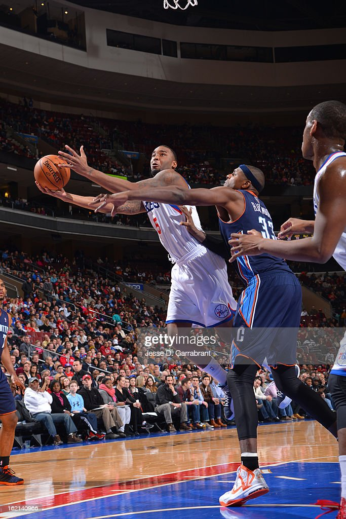 Arnett Moultrie #5 of the Philadelphia 76ers drives to the basket against the Charlotte Bobcats at the Wells Fargo Center on February 9, 2013 in Philadelphia, Pennsylvania.