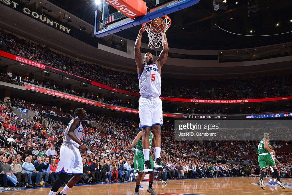 Arnett Moultrie #5 of the Philadelphia 76ers dunks against the Boston Celtics on March 5, 2013 at the Wells Fargo Center in Philadelphia, Pennsylvania.