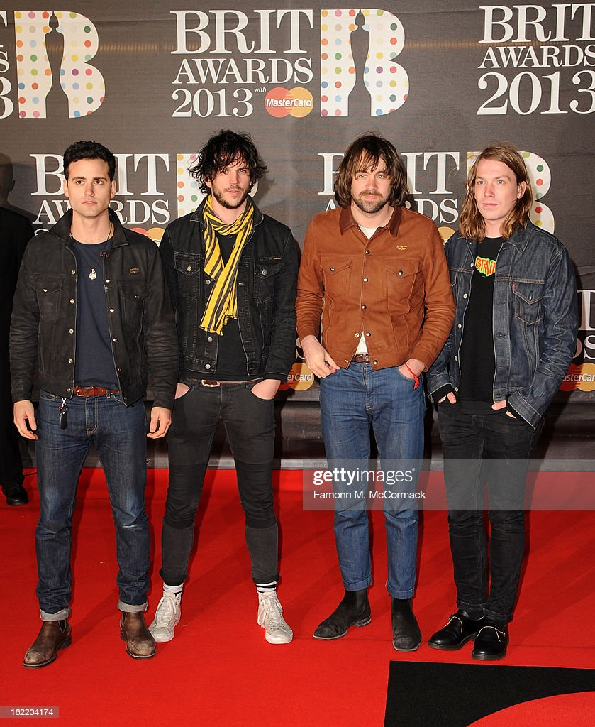 Arni Hjorvar Pete Robertson Justin Young and Freddie Cowan of The Vaccines attend the Brit Awards 2013 at the 02 Arena on February 20 2013 in London...
