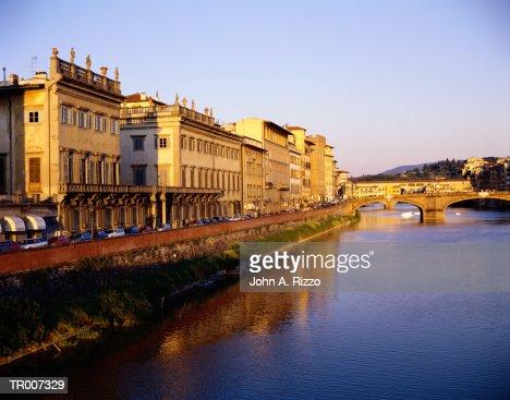 Arno River with Ponte Vecchio in the Distance