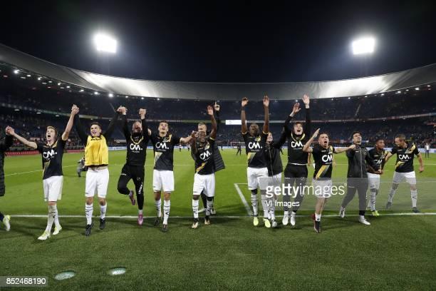 Arno Verschueren of NAC Breda Bart Meijers of NAC Breda Marvin Reuvers of NAC Breda Richelor Sprangers of NAC Breda goalkeeper Andries Noppert of NAC...