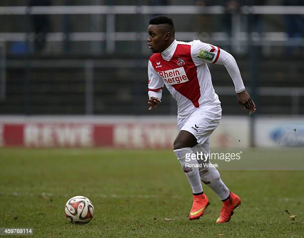 Arnold Budimbu of Koeln runs with the ball during the Regionalliga West match between 1 FC Koeln II and RotWeiss Essen at FranzKremerStadion on...